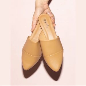 Vegan Leather Mule Flats